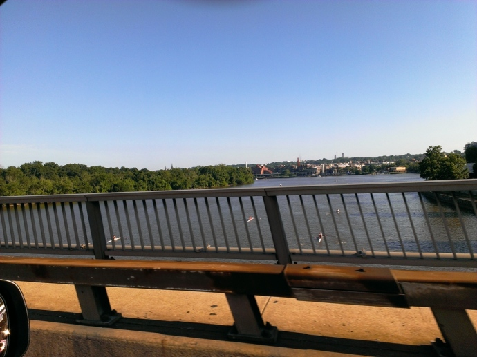 Crossing the Potomac into Arlington, VA.