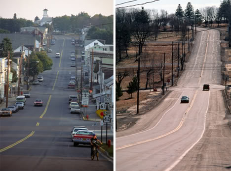 Downtown Centralia before and after